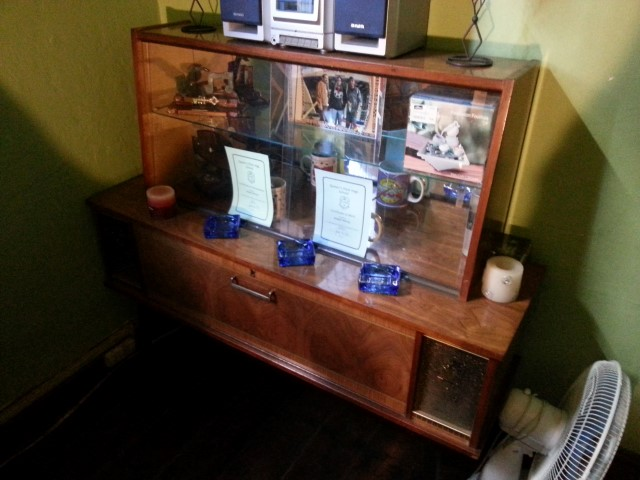 Old gramophone cabinet with display cabinet on top. R2500
